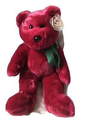 "Ty Teddy Cranberry Burgundy Beanie Buddies Buddy Green Ribbon New With Tags 14"" • 19.99£"