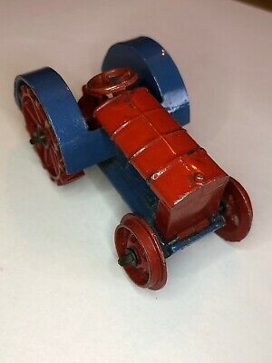 VINTAGE  DINKY TOYS MODEL No.22e FARM TRACTOR  PRE - WAR ( BLUE & RED VERSION ) • 95.30£