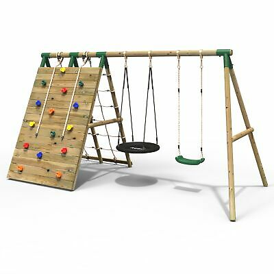 Rebo Beat The Wall Wooden Swing Set With Double Up & Over Climbing Wall –  • 339.95£