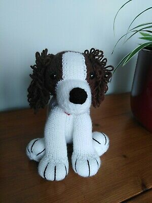 Liver & White Springer Spaniel Puppy Dog Hand Knitted Cuddly Soft Toy • 20£