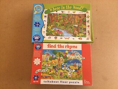 2 X Orchard Toys Educational Jigsaws 'Find The Rhyme' & 'Where In The Wood?' • 19.95£