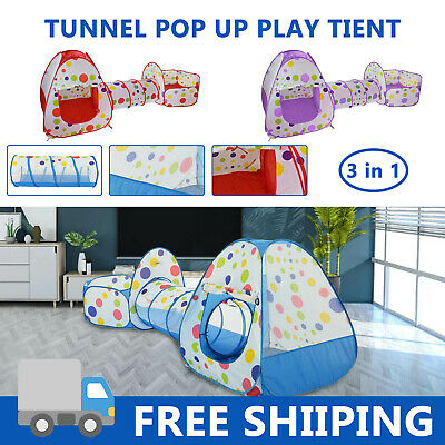 Kids Play Tent Pop Up Cubby Playhouse Tunnel Play Set Toddler Balls Pit 3 In 1 • 15.99£