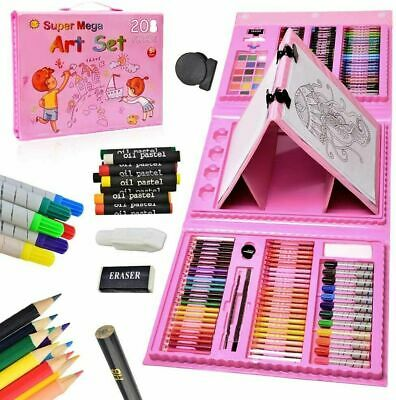 208 Pcs Art Set Childrens/Kids Colouring Drawing Painting Arts & Crafts Case • 16.99£