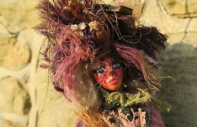 Vintage Czech MARIONETTE PUPPET From Prague A WITCH Handcrafted Wood & Fabric • 16£