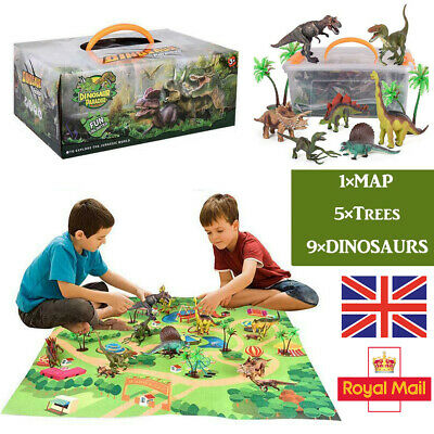 Realistic Dinosaur Toys Figures Playset With Play Mat & Trees Educational Set UK • 15.99£