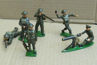 6x Vintage Lead Model Soldiers World War 2 Era Repainted • 10£