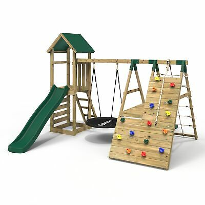 Rebo Wooden Climbing Frame With Swings, 6+8FT Slides & Climbing Wall - Twilight • 699.95£