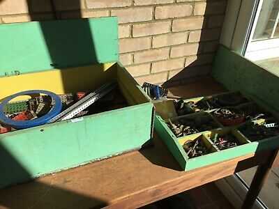 A Vintage Wooden Box With A Very Large Job Lot Of Vintage Meccano • 150£