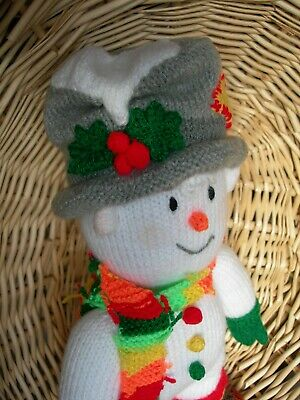 Hand Knitted Mr Twizzle The Snowman Soft Toy • 30£