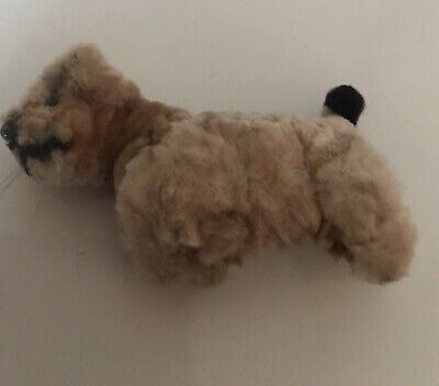 Vintage Cute Pretty Beige  Miniature Plush Standing Toy Dog  Old • 14.99£