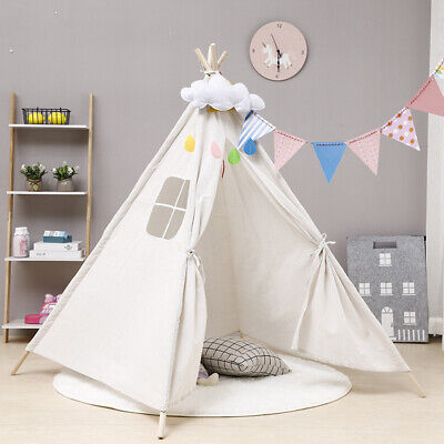 Lager Canvas Kids Teepee Indian Tent Childrens Wigwam Indoor Outdoor Play House • 22.67£