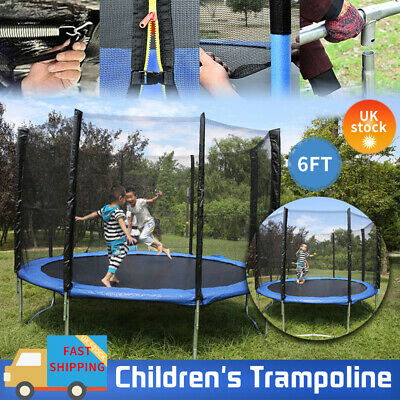 6FT Trampoline With Enclosure Safety Net Heavy Duty Kids Garden Outdoor Play UK • 89.99£