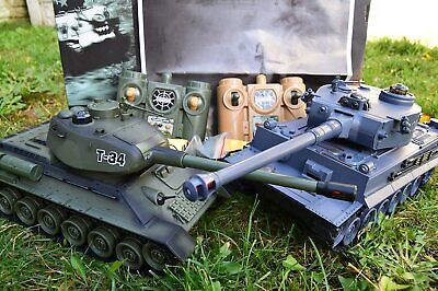 2.4ghz Large RC Twin Battle Tank RC Radio Remote Control Tank Tiger-I Vs T-34 • 49.99£