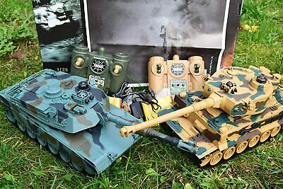 2.4ghz Large RC Twin Battle Tank Radio Remote Control Tank M1A2 Vs Tiger-I • 44.99£