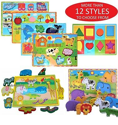 3D Baby Kids Wooden Puzzle Jigsaw Toys Educational Preschool Learning Toy UK • 6.99£