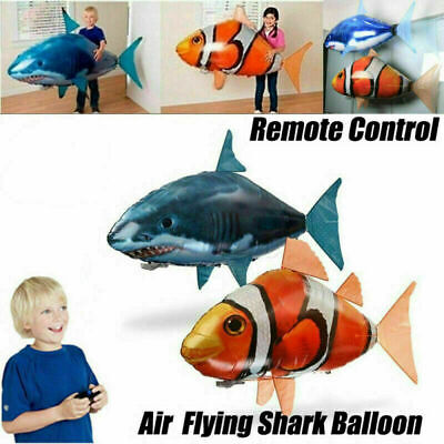 UK Stock Remote Control Flying Air Shark Toy RC Radio Inflatable Fish Balloons • 14.99£