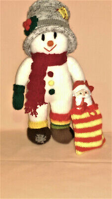 Snowman - Large Hand Knitted Toy (Cadbury Father Christmas Included In Toy Bag) • 20£