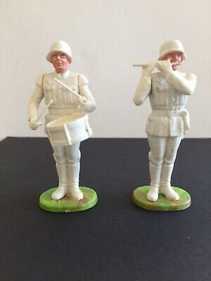 2X WEHRMACHT MUSICIANS SIDE DRUMMER & PIPER FOR PAINTING ELASTOLIN PLASTIC 7.5cm • 9.99£