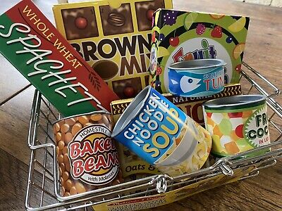 Pretend Play Shopping Basket With Minature Food Shop Items • 4.99£