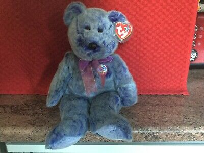 Rare Ty Beanie Buddy Bear PERIWINKLE With Tags, Soft Toy, Used • 4.99£