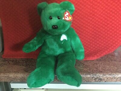 Rare Ty Beanie Buddy ERIN Bear With Tags, Soft Toy, Used • 4.99£