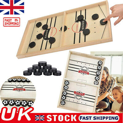 Bouncing Chess Wooden Catapult Hockey Board Party Game For Children Adult Family • 11.98£