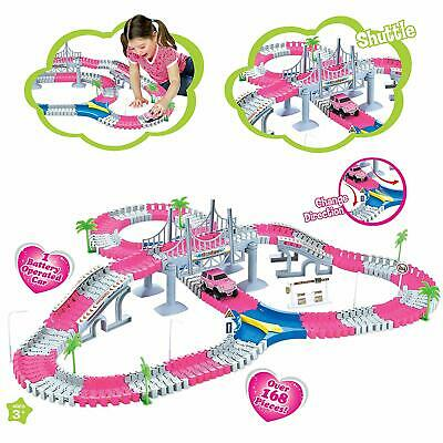 Children Pink Girls Track Playsets 168Pc Lights Battery Operated Car Racing Toy • 13.95£