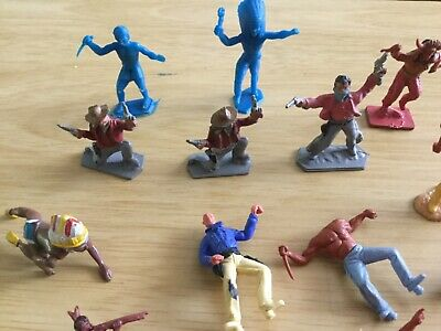 Vintage Plastic Lone Star - Harvey Series Cowboys X 3 And 10 Unrelated Indians • 3.99£