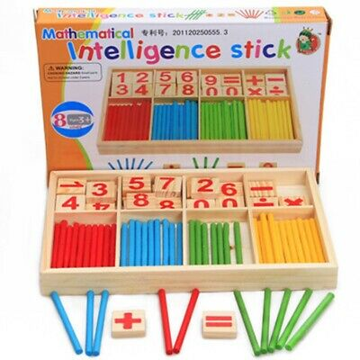 Kids Children Wooden Math Counting Game Sticks Numbers Learning Educational Toys • 2.96£