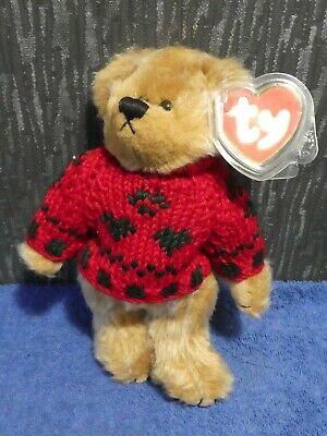 Ty Traditional Jointed Teddy Bear Red/green Jumper 1993 Bearkhardt Attic Trasure • 9.50£