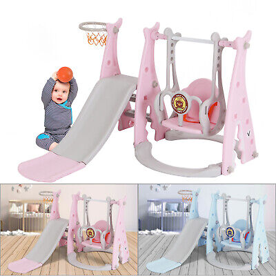 3 In 1 Toddler Climber Slide Play Swing Set Kids Indoor/Outdoor Playground Toy • 63.89£
