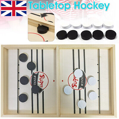 Large Family Game Fast Sling Puck Game Hockey Game Wooden Board Table Toy Gifts • 11.54£