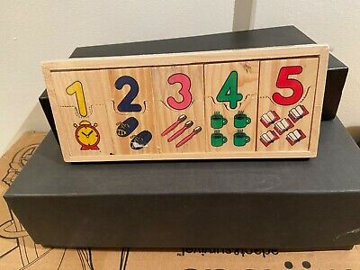 Childrens Wooden Numbers Pictures Puzzle Educational Toy Nice Gift • 0.39£