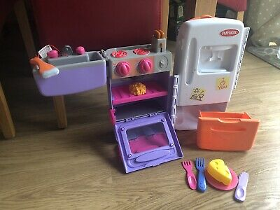 """PLAYSKOOL Portable Trolley KITCHEN  2002 VGC 14"""" High Compact For Space • 6.99£"""