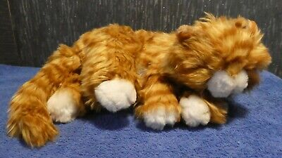 Sleeping Ginger Cat White Socks Soft Plush With Meow Sound • 12£