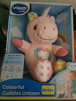 VTech Colourful Cuddles Unicorn, Cute Soft Toy For Newborns & Toddlers, Baby Toy • 6£