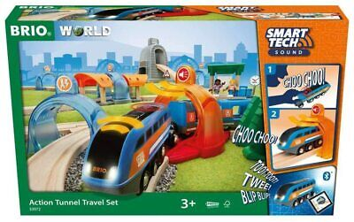 BRIO World Smart Tech Sound - Action Tunnel Travel Set For Kids Age 3+ Open Box • 59£