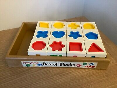 Vintage Tomy Time Box Of Blocks • 4£