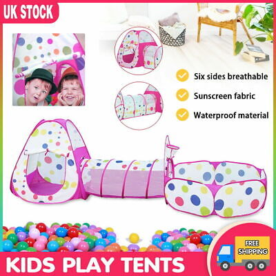 Portable 3in1 Children Kid Baby Play Tent Tunnel Ocean Ball Pit Playhouse Pop Up • 7.99£