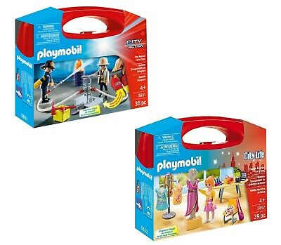 Playmobil City Action Fire Rescue 5651 + Fashion Boutique 5652 Carry Cases, NEW • 18.99£
