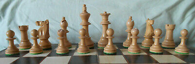 Vintage Staunton Style, Weighted And Felted Chess Set; King 92mm; No Box. • 57.50£