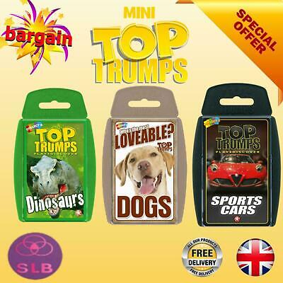 Top Trumps Mini Card Games Worlds Smallest Play Discover Dogs Dinosaurs Cars • 3.95£