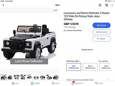 Licensed Landrover Electric Ride On Battery • 35£
