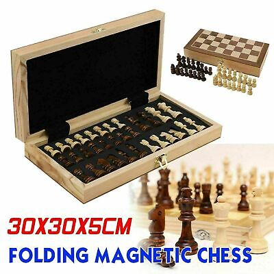 Large Chess Wooden Set Folding Chessboard Magnetic Pieces Wood Board NEW O • 13.59£