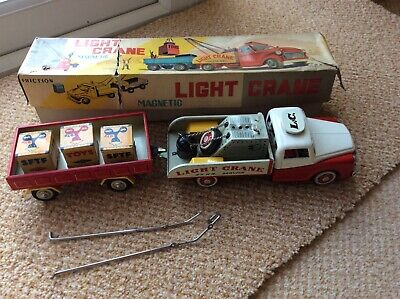 Vintage Friction Tinplate Light Crane Truck & Trailer Boxed • 21£
