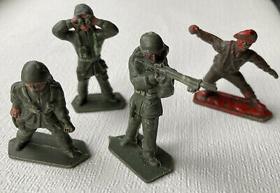 4 X Vintage Lone Star Plastic Toy Soldier Figures Including Ref 1, 3 & 11 • 3£