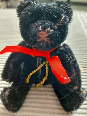 Hermann Miniature Black West German Bear 1990s Mohair 5  Tall No Tag • 15£