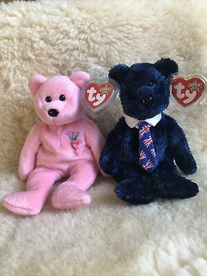 Retired TY Beanie Baby Bear ~  Mum 2001 Pops 2002 ~ NWT • 9.99£