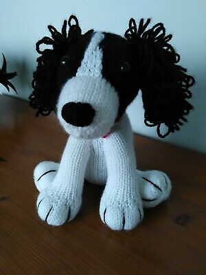 Black & White Springer Spaniel Puppy Dog Hand Knitted Cuddly Soft Toy • 20£
