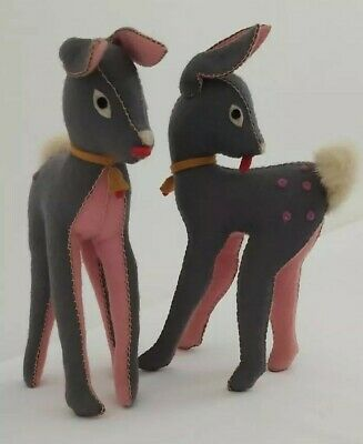 Vintage Felt Deer Toy Pink And Grey • 40£